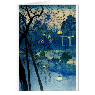 Vintage Japanese Evening in Blue Greeting Cards