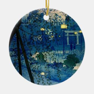Vintage Japanese Evening in Blue Ceramic Ornament