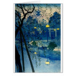 Vintage Japanese Evening in Blue Greeting Card