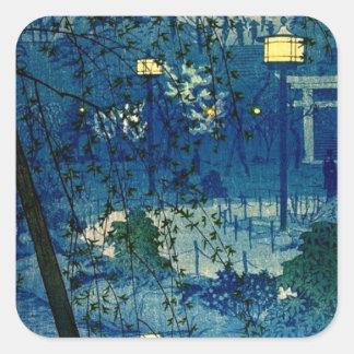 Vintage Japanese Evening in Blue Square Sticker