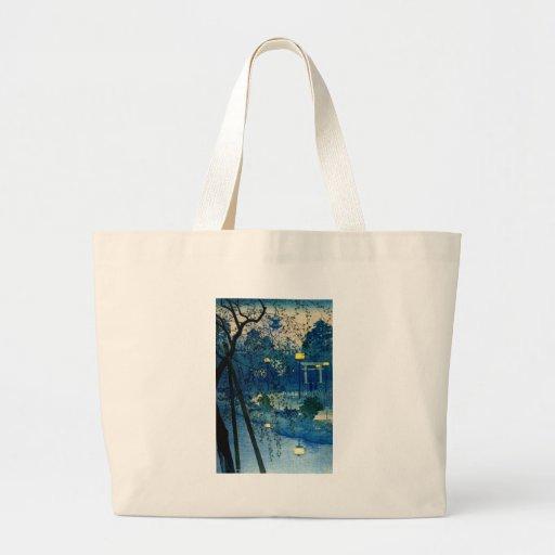 Vintage Japanese Evening in Blue Tote Bag