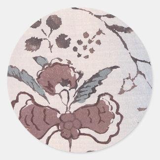 Vintage Japanese Fabric Art 6 Round Sticker