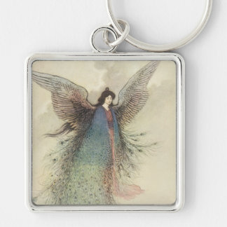 Vintage Japanese Fairy, Moon Maiden, Warwick Goble Silver-Colored Square Keychain