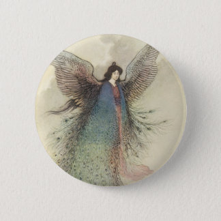 Vintage Japanese Fairy Tale, The Moon Maiden Pinback Button