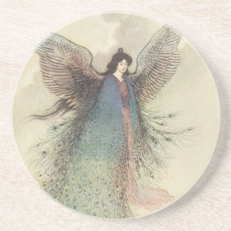 Vintage Japanese Fairy Tale, The Moon Maiden Sandstone Coaster