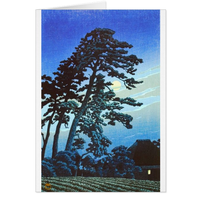 Vintage Japanese Farm w/Tree Woodblock Art Ukiyo-e Card