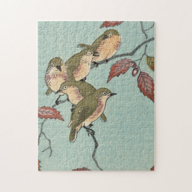 Vintage Japanese Fine Art Green Birds