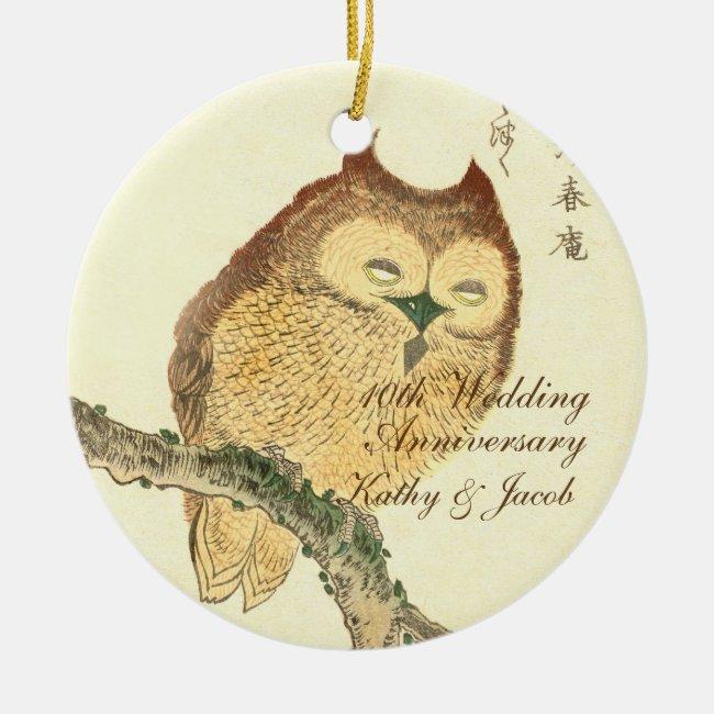 Vintage Japanese Fine Art Print, Owl | Anniversary