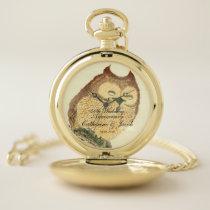 Vintage Japanese Fine Art Print, Owl | Anniversary Pocket Watch