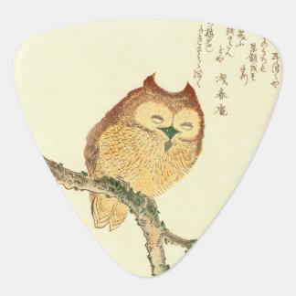 Vintage Japanese Fine Art Print | Owl on a Branch Guitar Pick