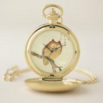 Vintage Japanese Fine Art Print | Owl on a Branch Pocket Watch