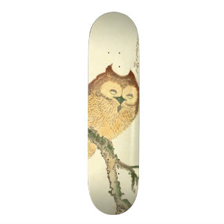 Vintage Japanese Fine Art Print | Owl on a Branch Skateboard