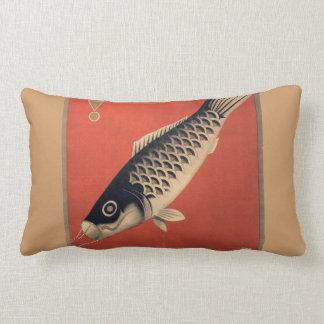Vintage Japanese fish oblong pillow