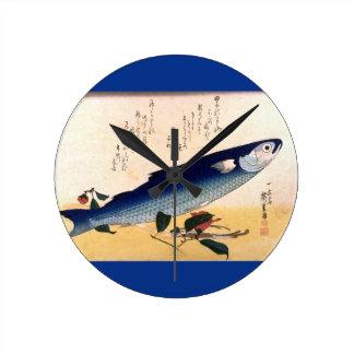 Vintage Japanese Fish Print Acrylic Wall Clock