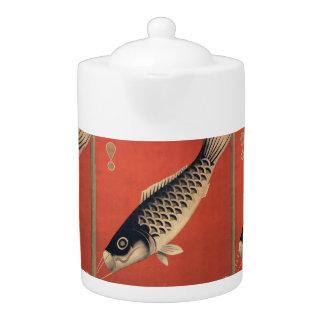 Vintage Japanese fish teapot