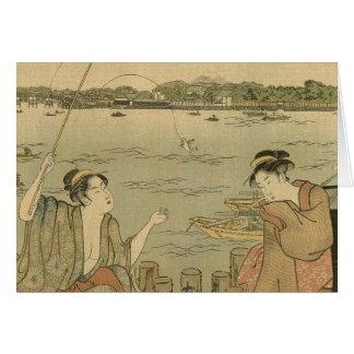 Vintage Japanese Fishing Art Print Painting Card