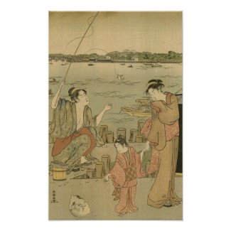 Vintage Japanese Fishing Woodblock Print