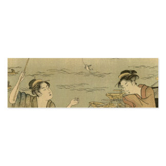 Vintage Japanese Fishing Woodblock Print Double-Sided Mini Business Cards (Pack Of 20)