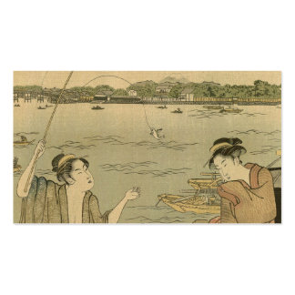 Vintage Japanese Fishing Woodblock Print Business Card