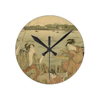 Vintage Japanese Fishing Woodblock Print Wall Clock