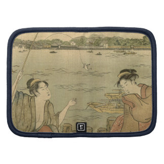 Vintage Japanese Fishing Woodblock Print Folio Planners