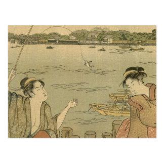 Vintage Japanese Fishing Woodblock Print Postcard