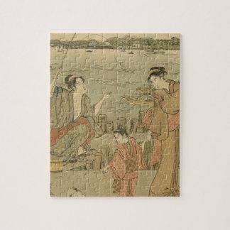 Vintage Japanese Fishing Woodblock Print Puzzle