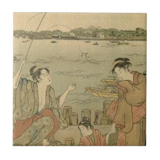 Vintage Japanese Fishing Woodblock Print Tile