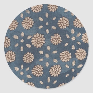Vintage Japanese Floral Fabric 147 Round Stickers