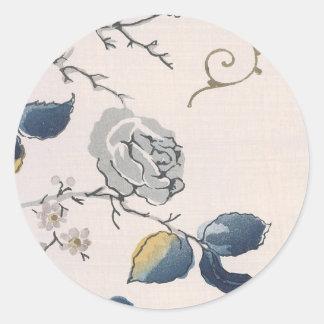 Vintage Japanese Floral Fabric Art 153 Round Sticker