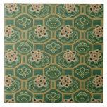 Vintage Japanese Floral Large Square Tile