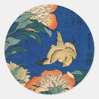 Vintage Japanese Flower Bird Classic Round Sticker
