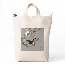 Vintage Japanese Flying Night Owl Art Print Duck Bag