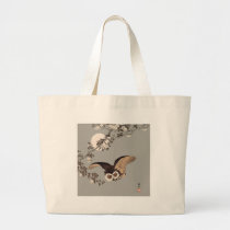 Vintage Japanese Flying Night Owl Art Print Large Tote Bag