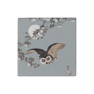 Vintage Japanese Flying Night Owl Art Print Stone Magnet