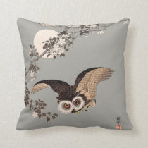 Vintage Japanese Flying Night Owl Art Print Throw Pillow