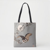 Vintage Japanese Flying Night Owl Art Print Tote Bag