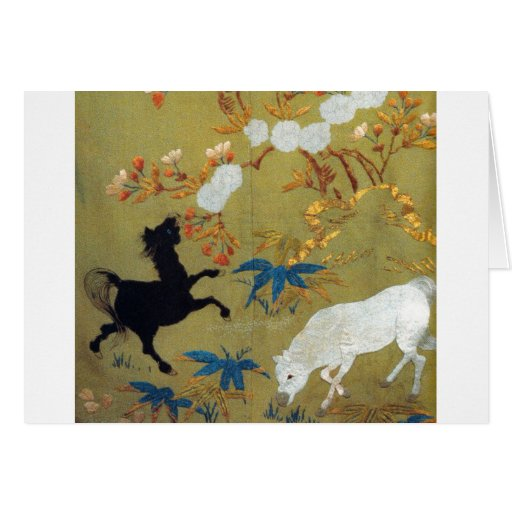 Vintage Japanese Foal and Cherry Blossoms Greeting Card
