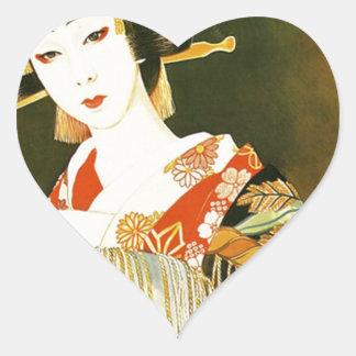 Vintage Japanese Geisha Art Heart Sticker