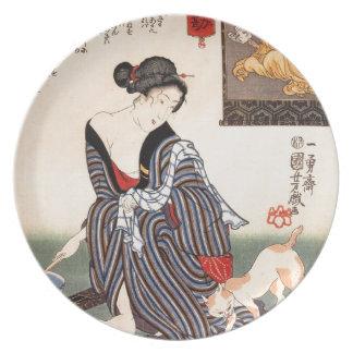 Vintage Japanese Geisha Girl Art Plates