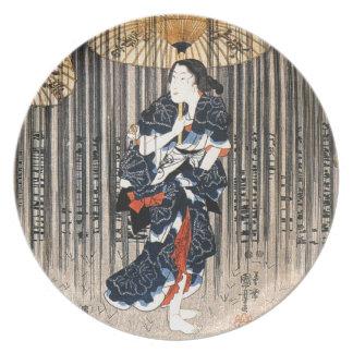 Vintage Japanese Geisha Girl Art Dinner Plate
