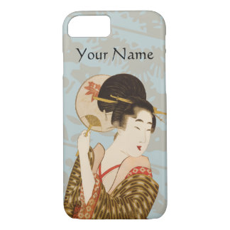 Vintage Japanese Geisha Girl in Kimono with Fan iPhone 8/7 Case