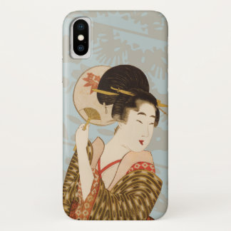 Vintage Japanese Geisha Girl in Kimono with Fan iPhone X Case