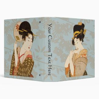Vintage Japanese Geisha Girls in Kimonos Vinyl Binder