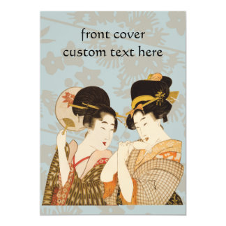 Vintage Japanese Geisha Girls in Kimonos Party Card