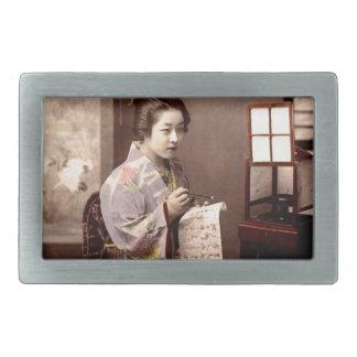 Vintage Japanese Geisha - Letter Writer Belt Buckle