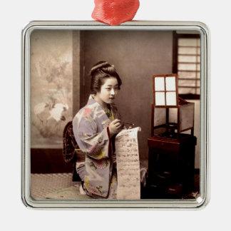Vintage Japanese Geisha - Letter Writer Metal Ornament