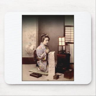 Vintage Japanese Geisha - Letter Writer Mouse Pad