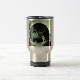Vintage Japanese Geisha Peering Out at Ocean Travel Mug