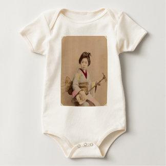 Vintage Japanese Geisha Playing Shamisen Baby Bodysuit